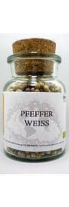 Pfeffer weiß ganz Bio im Korkenglas