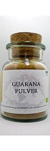 Guarana Pulver gemahlen im Korkenglas