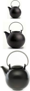 Teekanne Eslau Porzellan schwarz-matt